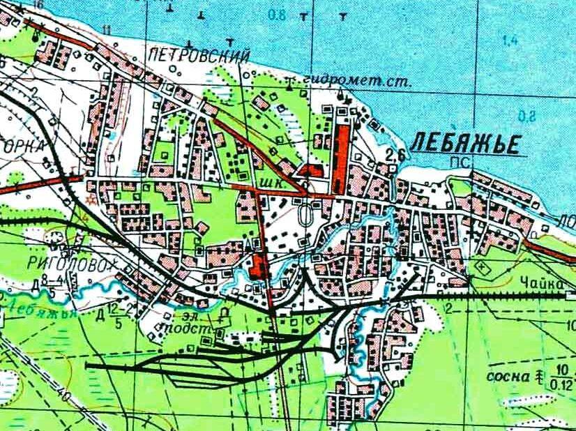 План посёлка, нарисованный